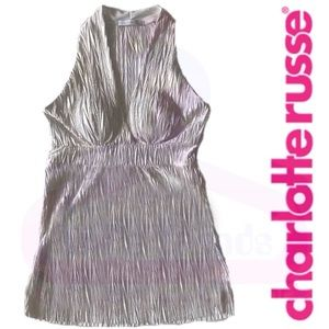 Charlotte Russe•Ivory/Metallic Gold Top